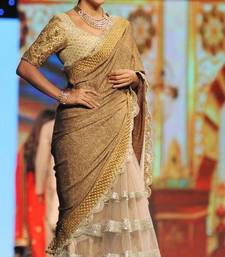 Buy Beige embroidered silk saree with blouse bollywood-saree online