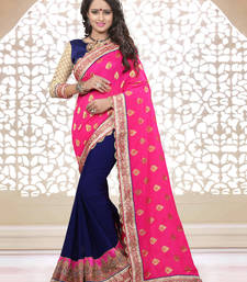 Buy Pink embroidered georgette saree with blouse half-saree online