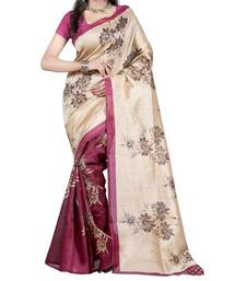 Buy Magenta printed bhagalpuri silk saree with blouse bhagalpuri-silk-saree online