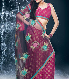 Buy Hypnotex Pink Faux Georgette Saree Jewel531 georgette-saree online