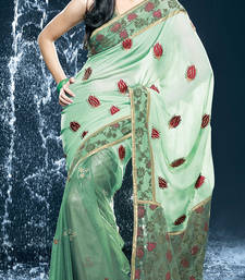 Buy Hypnotex Light Green Faux Georgette Shimmer Saree Jewel527 georgette-saree online