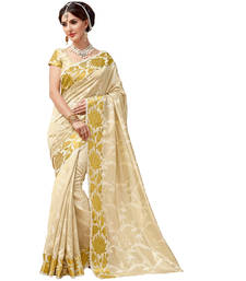 Buy White plain tussar silk saree with blouse tussar-silk-saree online