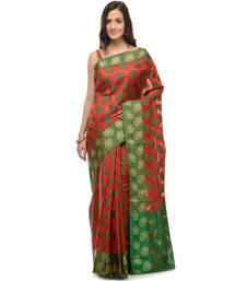 Buy Red woven super net saree with blouse supernet-saree online