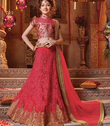 Buy red embroidered Net kids lehenga choli kids-lehenga-choli online