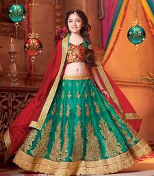 Buy green embroidered Net kids lehenga choli kids-lehenga-choli online