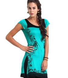 Buy  kukn078 Blue Peacock Print Kurti kurtas-and-kurti online