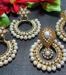 Buy Buy 2 pearl polki earring set stud online