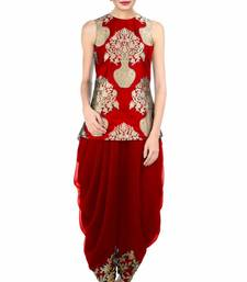 Buy Red silk embroidered semi stitiched salwar indowestern online