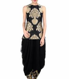 Buy Black silk embroidered semi stitiched salwar indowestern online