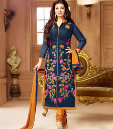 Buy Navy blue chanderi silk embroidered semi stitiched salwar with dupatta ayesha-takia-salwar-kameez online
