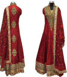 Buy Red embroidered cotton silk semi stitched Anarkali salwar Suit with dupatta wedding-salwar-kameez online