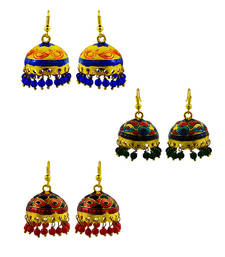 Buy Diwali-special-meenakari-combo-jhumki-earrings-of-set jhumka online