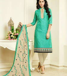 Buy Sea green embroidered cotton silk salwar with dupatta ethnic-suit online
