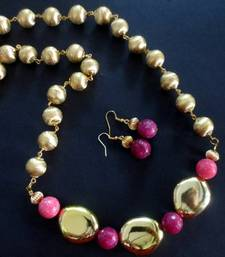 Buy Golden_Brass_Pink_Agate_Set Necklace online