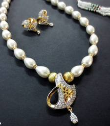 Buy White_Pearl_Drop_AD_Pendant_Set Necklace online