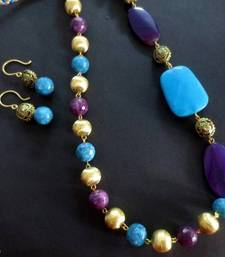 Buy 06Purple_Blue_Agate_SP_Brass_Set Necklace online