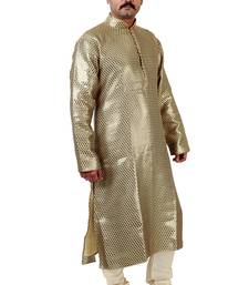 Buy gold embroidered silk kurta payjama gifts-for-dad online