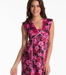 Buy black scarlet floral long nightdress sleepwear online