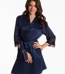 Buy navy lace trim wrap sleepwear online