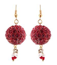 Buy Handmade Maroon Lac Ball Jhumka Set hoop online