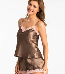 "Buy PrettySecrets Chocolate ""Ultimate Lounge"" Cami & Shorts Set nightwear online"