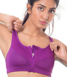 "Buy Purple ""Perform"" Zip-Front Sports Bra bra online"