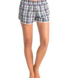 "Buy Aqua Purple ""Flirty Checks"" Shorts nightwear online"