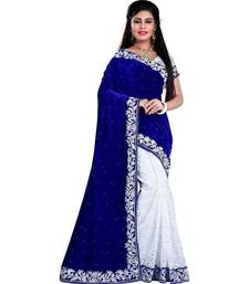 Buy Awesome Blue Velvet  saree with blouse bhagalpuri-silk-saree online