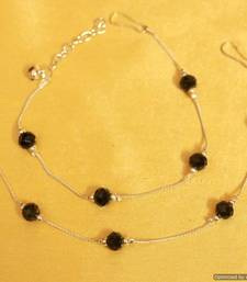 Buy Silver look black beads anklets anklet online