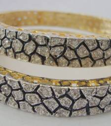 Buy AD STONE SETTED 2 PICS ZERKON STONES BANGLES WITH ENAMEL  bangles-and-bracelet online