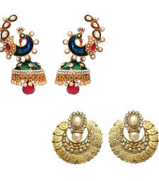 Buy Antique Gold Plated Combo of Laxmiji & Peacock Earrings with Artificial Pearls jewellery-combo online