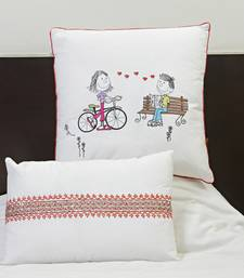 Buy White Cotton Printed and Embroidered Cushion Cover set with Fillers gifts-for-mom online
