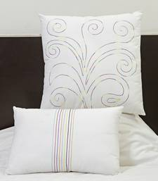 Buy Scrolly Design Embroidered White Cotton Cushion cover set with Fillers gifts-for-mom online