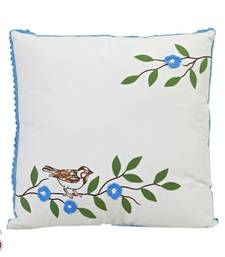 Buy Applique and Printed White , Blue Cushion cover with Filler gifts-for-mom online