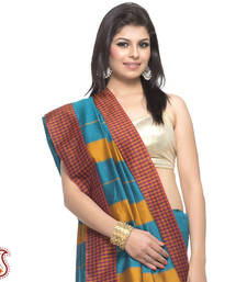 Buy Beautiful Checkered Border Metallic Sea Weed Art Silk Saree gifts-for-mom online