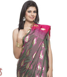 Buy Rose Pink Paisley Jacquard Silk with Plum Pallu in Zari work gifts-for-mom online