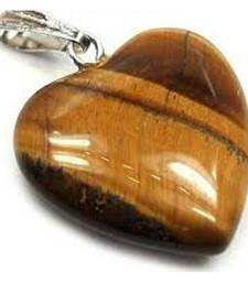 Buy Tiger eye heart shaped pendant chakra healing crystal gemstone jewellery other-gemstone online
