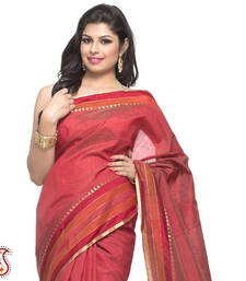 Buy Tangelo Silk Saree with Traditional striper border gifts-for-mom online