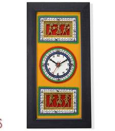 Buy Orange and Black Tribal Art Wall Clock gifts-for-mom online