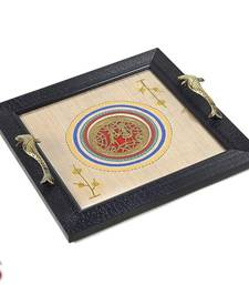 Buy Tribal Art Dhokra work Wooden tray gifts-for-mom online