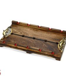 Buy Antique finish Rose Wood Tray with metal Handles gifts-for-mom online