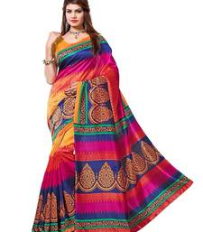Buy multicolor printed bhagalpuri silk saree with blouse below-400 online