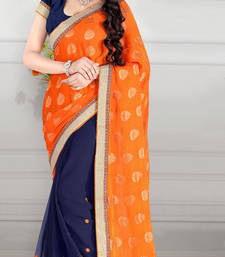 Buy Blue and Orange embroidered georgette saree with blouse brasso-saree online