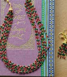 Buy Layered Red & Green Mala & Earring - 6 line necklace-set online