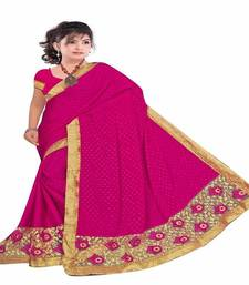 Buy Pink embroidered georgette saree with blouse heavy-work-saree online