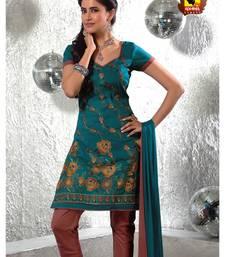 Buy Poshak-Fascinating rama blue cotton unstitched suit dress-material online