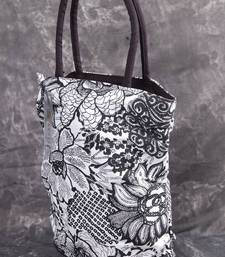 Buy Black and White Floral Premium Handbag handbag online