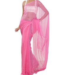 Buy FAVOLA Designer Cool Pink Crystallized Sari viscose-saree online