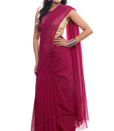 Buy FAVOLA Designer Charming Dark Pink Crystallized Sari viscose-saree online