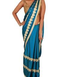 Buy Capri Blue Satin Saree with Golden Leaf Shaped Motifs satin-saree online